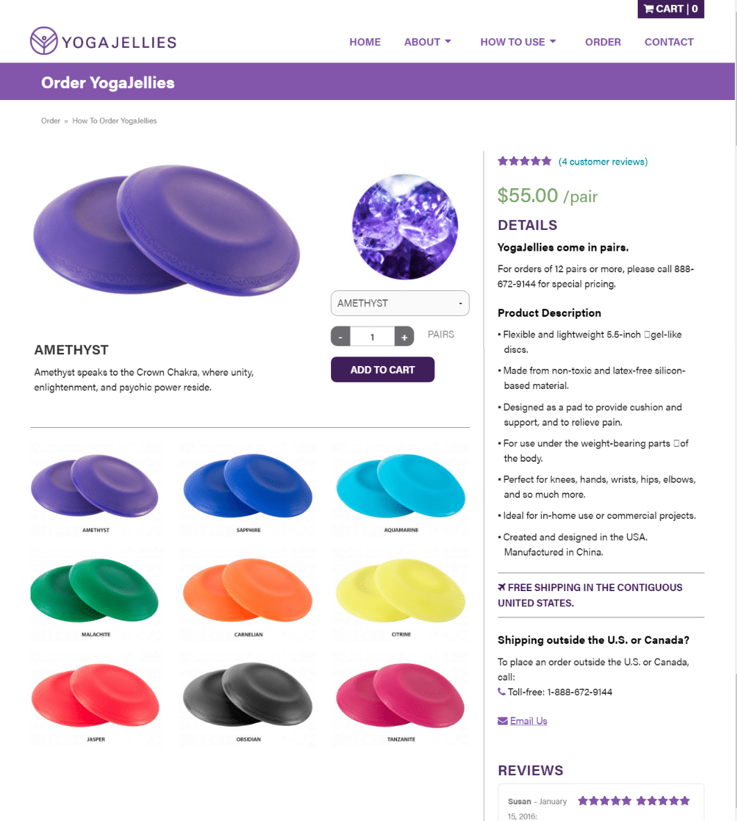 Yoga Jellies Shop Page
