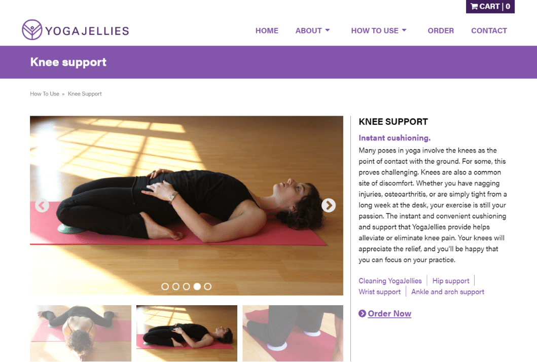 Yoga Jellies product information page.
